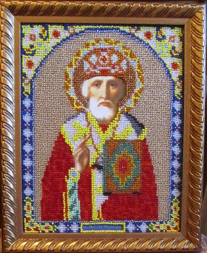 Николай чудотворец вышивка бисером 79